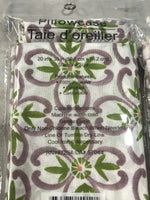 Home Collection Pillowcases Set 2 White Purple Green Floral Standard Modern Chic
