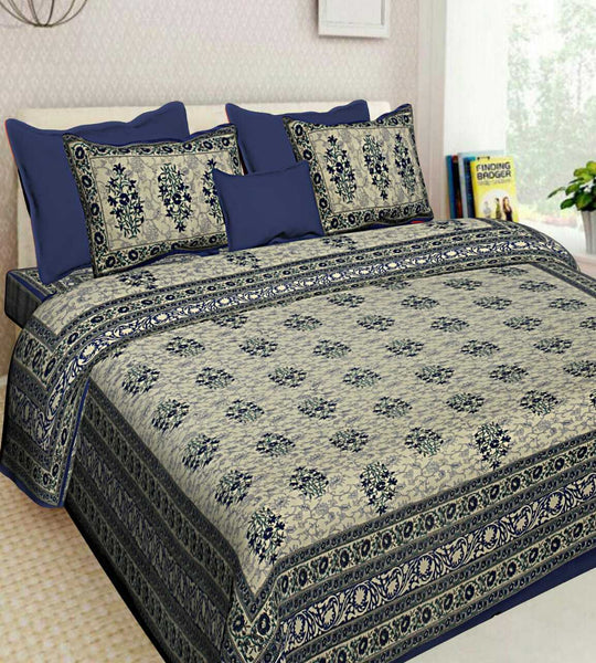 New Blue Color Floral Printed 100% Cotton Bedsheet 2 Pillow Cases Set Bedspread