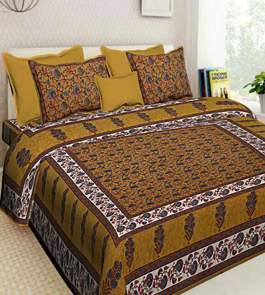 Indian Brown New Floral Print 100% Cotton Bedsheet 2 Pillow Cases Set Bedspread