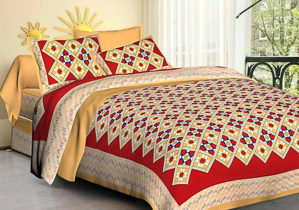 Printed Rajasthani Floral Nice 100% Cotton King Bed Sheet With 2 Pillow Covers