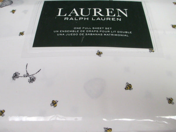 Ralph Lauren Cotton 4pc White Black Yellow Bee Beehive Floral Sheet Set - Full