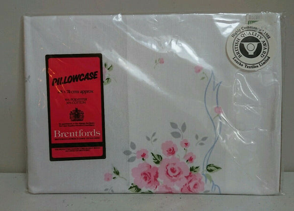 VINTAGE NEW PACK BRENTFORDS PILLOWCASE WHITE FLORAL POLYCOTTON PINK FLOWERS ROSE