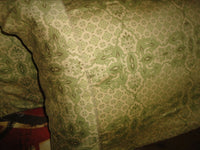 VERATEX GREEN LIGHT GOLD MARRAKESH PAISLEY FLORAL SATEEN 2 STANDARD PILLOWCASES