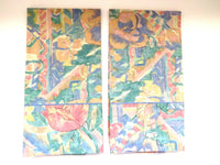 PAIR Standard Floral Pillowcases by Dan River Pink Tulips Green Blue Vintage EUC