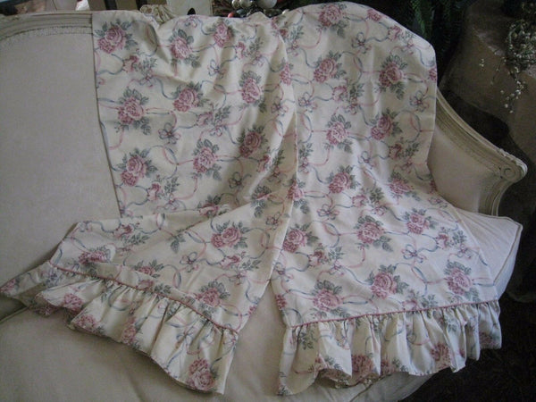 WESTPOINT STEVENS FLORAL, RIBBON, RUFFLED KING PILLOWCASES WITH PIPING # 172
