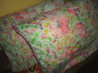 VINTAGE PINK PURPLE YELLOW GREEN LACE FLORAL (2) STANDARD PILLOWCASES 20 X 31
