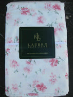 RALPH LAUREN SUMMER COTTAGE PINK FLORAL KING PILLOWCASES NEW RARE 350TC
