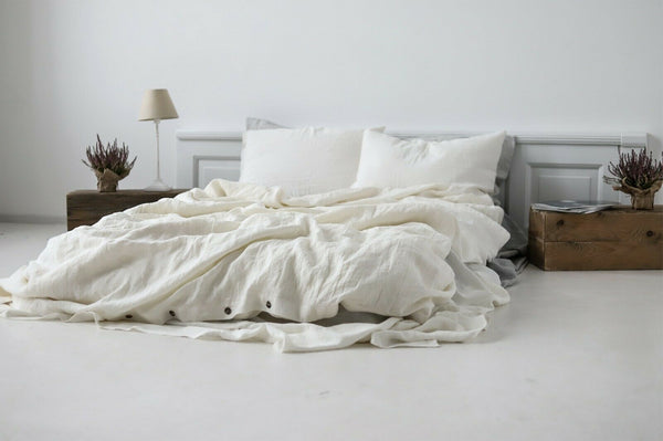SET OF 2 OFF WHITE STONEWASHED LINEN PILLOWCASES / NATURAL / SOFT LINEN BEDDING