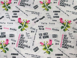 Betsey Johnson PUNK LOVE White Green Black Pink Rose Script Sheet Set - Full