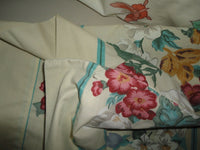 WESTPOINT MAGNOLIA GREEN GOLD PINK FLORAL (PAIR) STANDARD PILLOWCASES 29 X 19