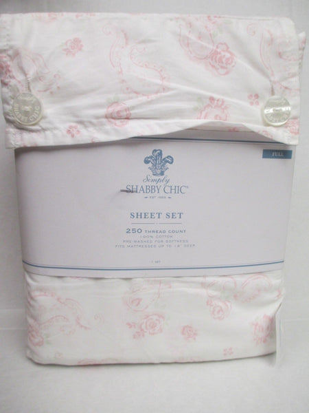 Simply Shabby Chic Cottage White Pink Paisley Rose Floral Sheet Set - Full