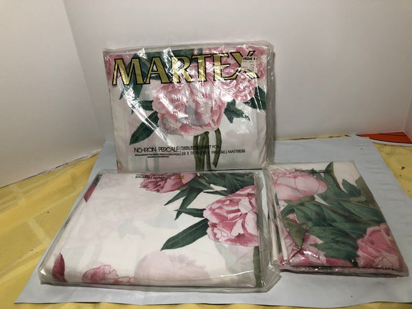 VTG Martex Percale Sheets Twin Fitted & Flat& Pillow Cases Hydrangea Pink New