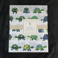New Pottery barn Kids Turtle Organic Queen Sheet Set green blue white