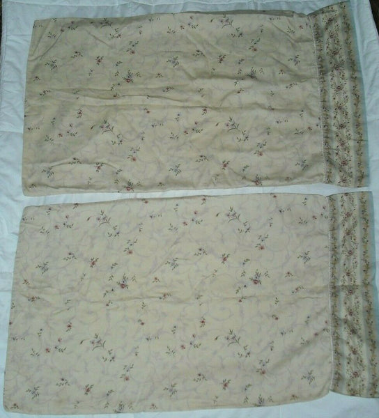 CROSCILL BEIGE BLUE STRIPED FLORAL ROSE PAISLEY (2) STANDARD PILLOWCASES