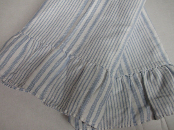 Ralph Lauren SHELTER ISLAND White Blue Striped 2 Ruffled King Pillowcases