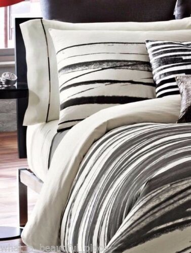 (2) Kenneth Cole Willow Queen Standard Shams Abstract Stripes Ivory Black Gray