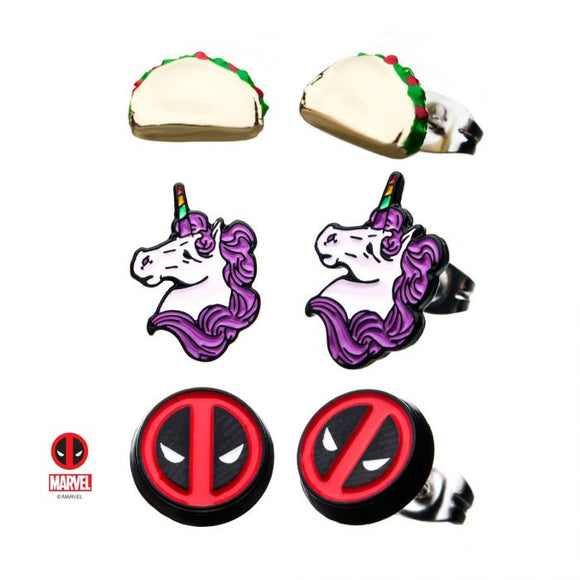 Deadpool 3pc Earring Set