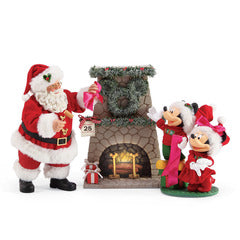 Possible Dreams Mickey & Minnie Fireplace With Santa