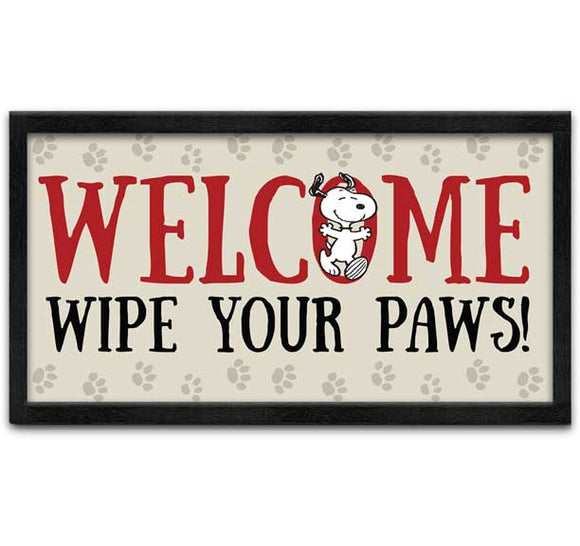 Peanuts - Wipe Your Paws 10x18 Wall Art