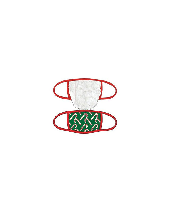 Santa Beard & Candy Cane 2pk Face Mask