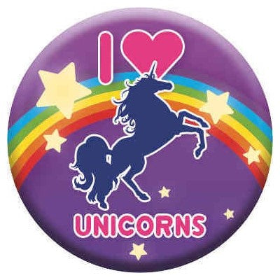 I Love Unicorns Purple Button