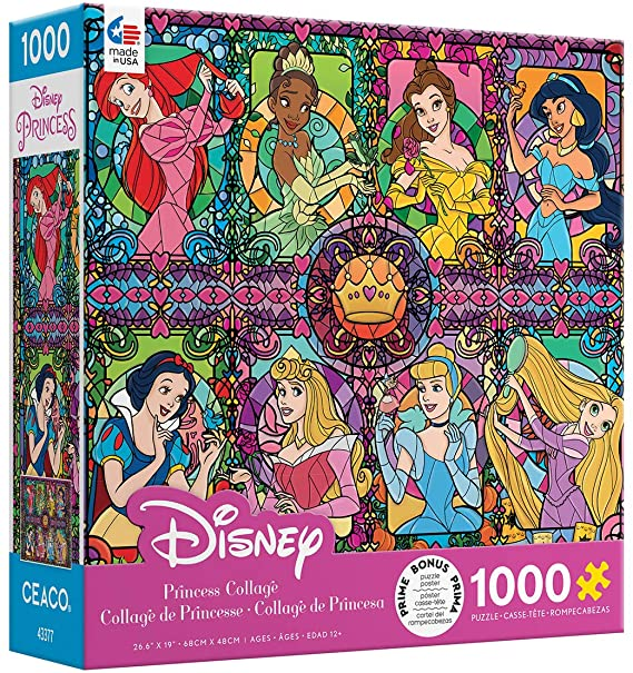 Disney Princess Stained Glass Style 1000pc Puzzle