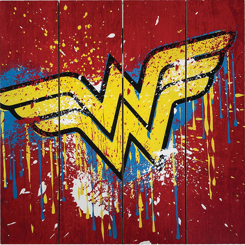 Wonder Woman Grafitti Logo Wood Sign