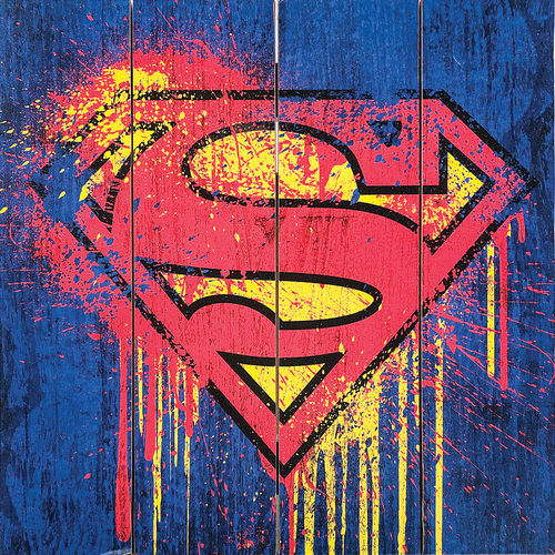 Superman Grafitti Logo Wood Sign