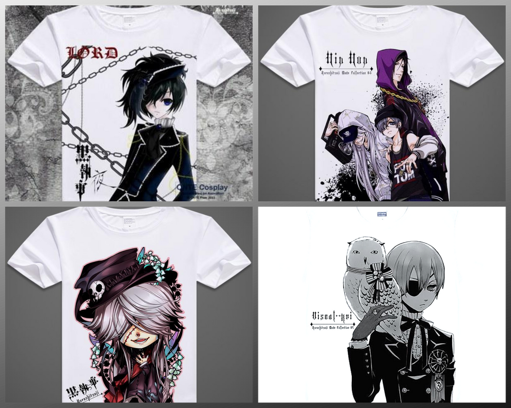 Black Butler Chibli style T Shirts. Various designs. Men and Womens available.