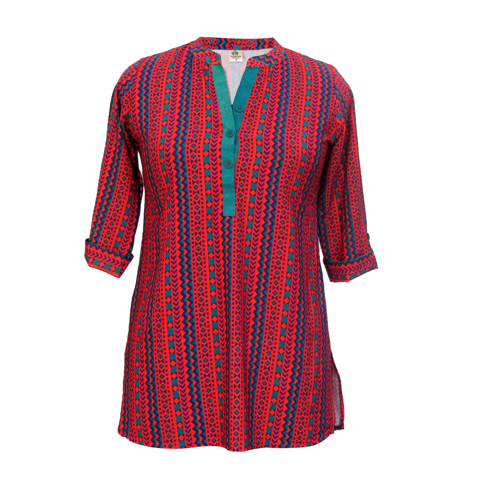 Red Indie Folk Print Kurta