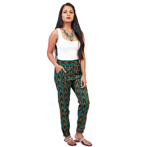 Ikat fusion pants for women
