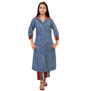 Traditional Dabu Print Suit Set With Printed Collar & Matching Cotton Pants.