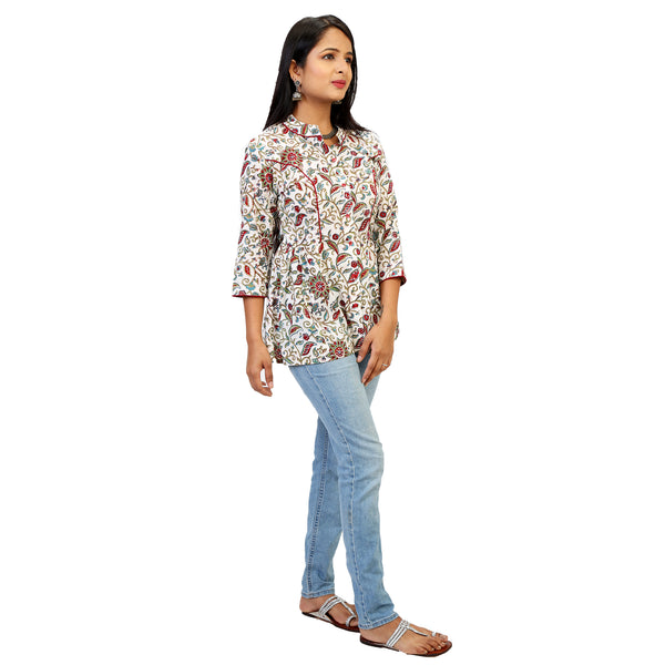 summery cotton floral top for women online