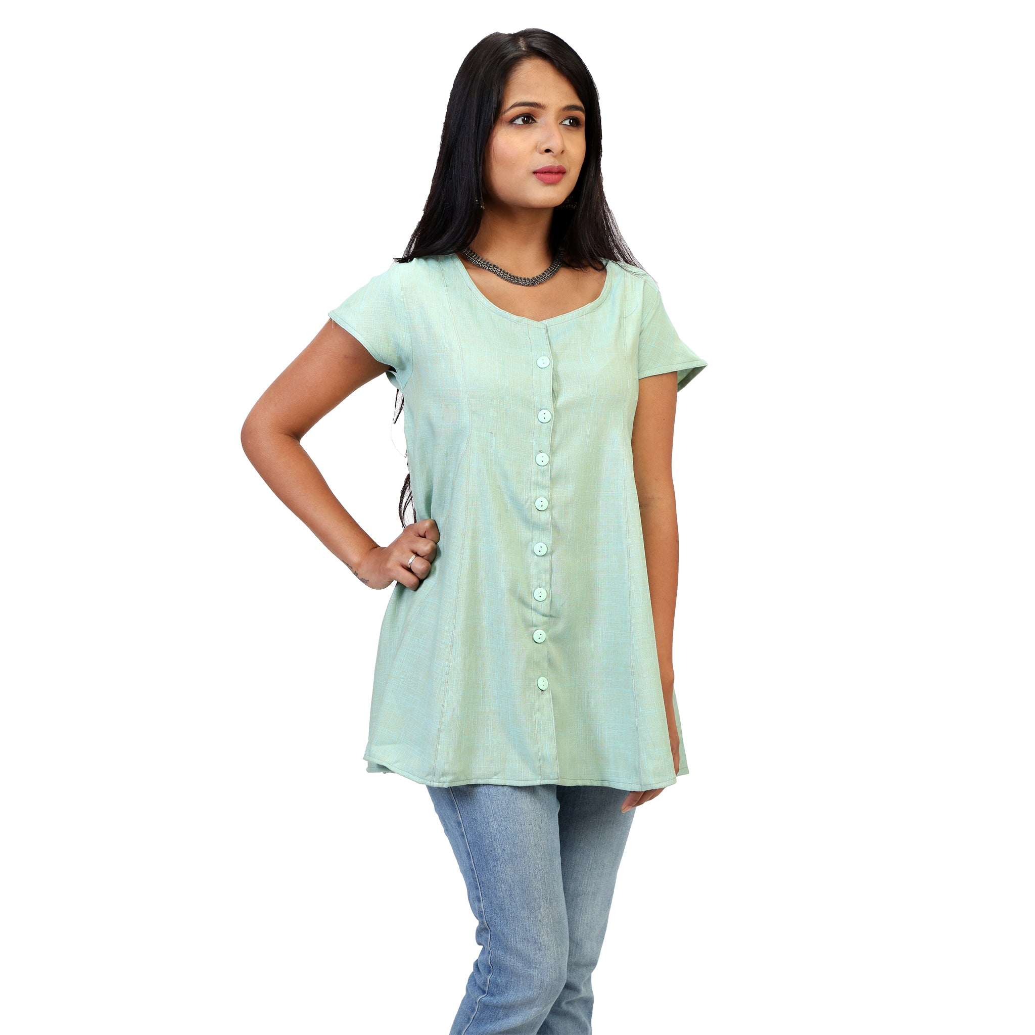 plain relaxed fit long tops for women