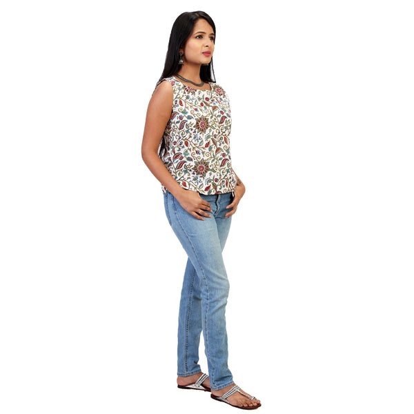 fabindia type floral cotton short top