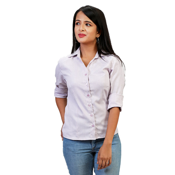 cotton-checked-shirt-for-ladies
