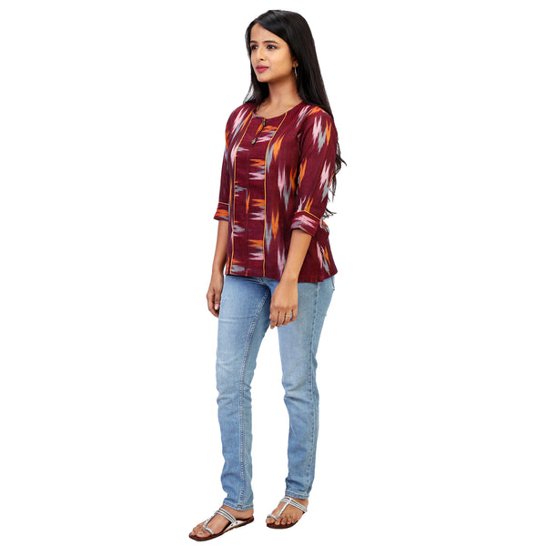 handloom ikat shirt online for women