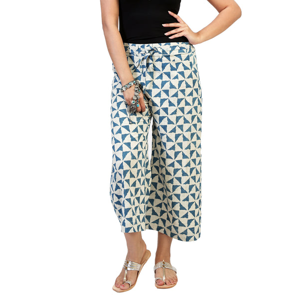 blue triangle print on white cotton palazzo pants for women