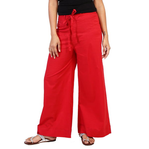 plain-red-palazzos for women online