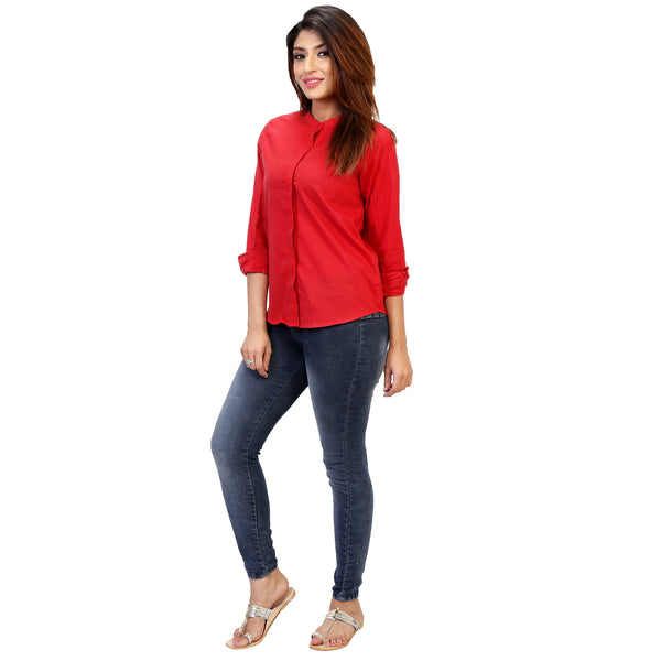 red-formal-shirt-for-ladies-online