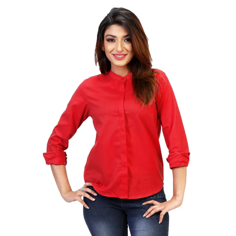plain red formal shirt with chinese collar for women
