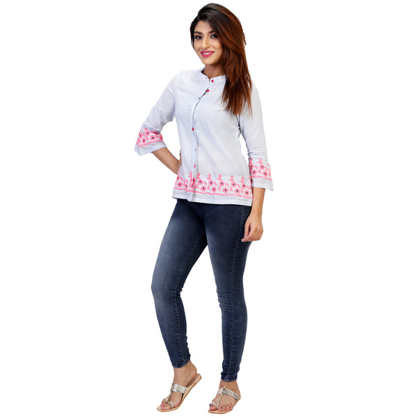 formal office shirt with embroidery for women