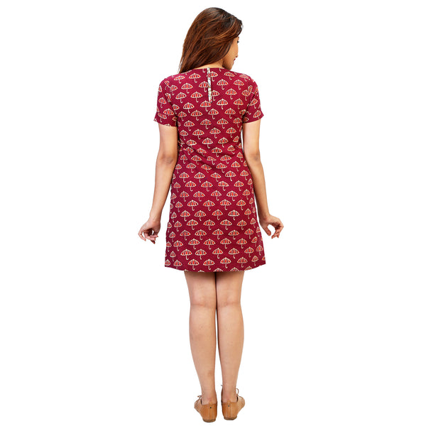 Block Umbrella Print Shift Dress