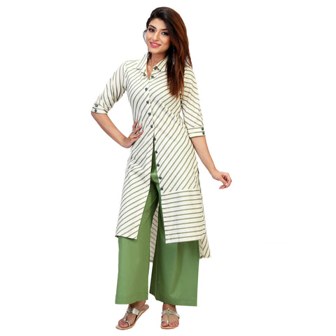 Diagonal Lines Summer Green Kurta