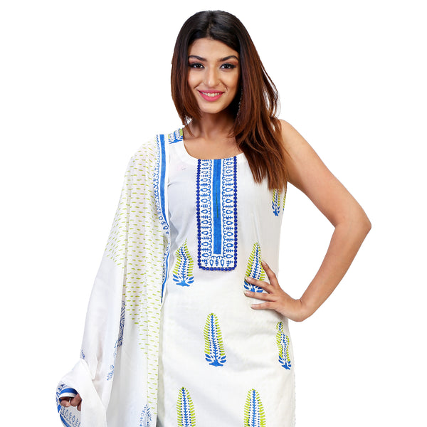 Pine Tree Printed Straight Kurta Full Set With Dupatta