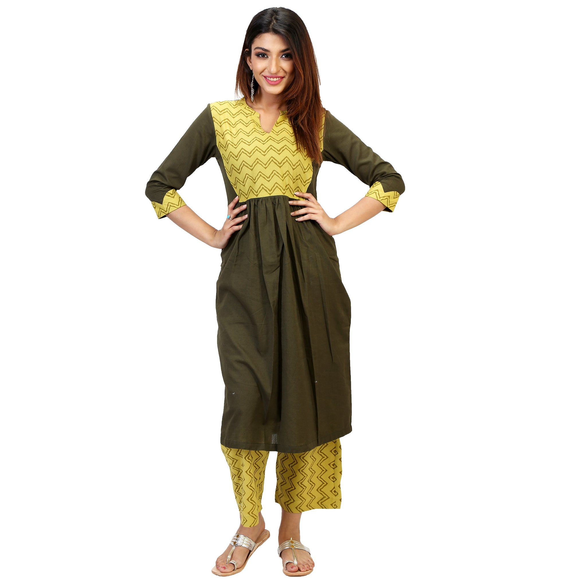 Trendy Mehendi Green Suit Set With Lime Palazzos