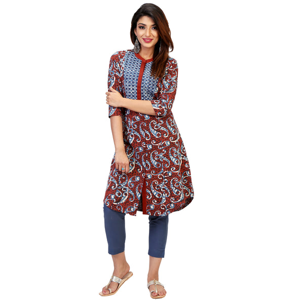 bagru print  short kurta for women online