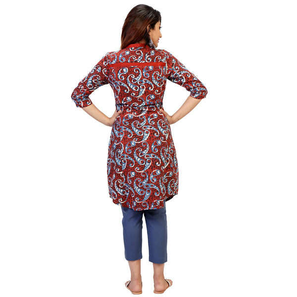 Blue Paisley Bagru Print Kurta With Yoke