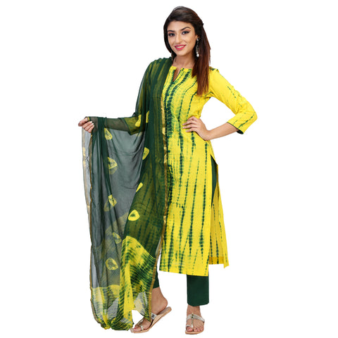Traditional Tye & Dye Suit Set With Green Straight Pants & Dupatta