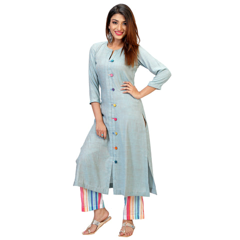 summer cotton teal blue kurta for women